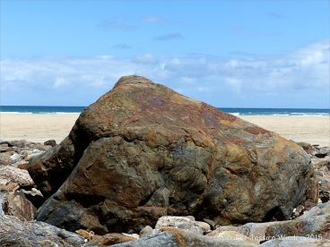 Beach boulder of Mylor Slate Formation rock at Porth Kidney
