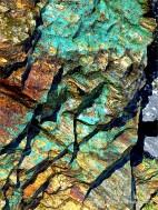 Bright blue-green patch on Mylor Slate Formation rock