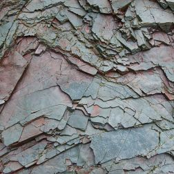 Close-up of weathering rock strata at Red Point on Grand Manan in New Brunswick, Canada