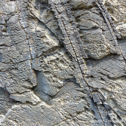 Interesting texture in metamorphosed igneous intrusive rock at Porthmeor in Cornwall, England