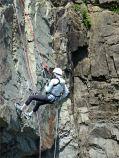 Abseiler on Cape Enrage cliffs