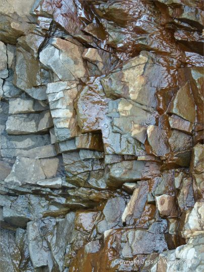 Close-up of the natural rock patterns in the cliffs at Cape Enrage