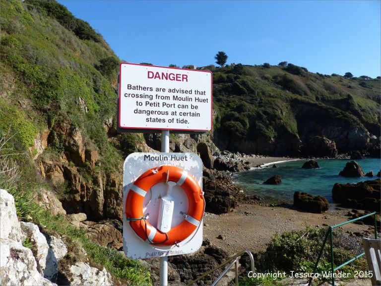 General view looking east from the base of the steps at Moulin Huet Bay in Guernsey