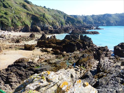Outcrops of Icart Gneiss on the beach at Moulin Huet Bay
