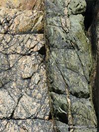 Contrasting rock textures at Moulin Huet Bay