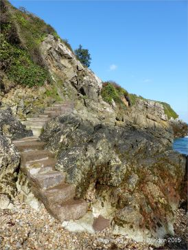 The steps leading down to the beach at Marble Bay