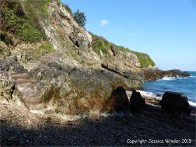 Looking at the promontory on the north side of Marble Bay from the beach