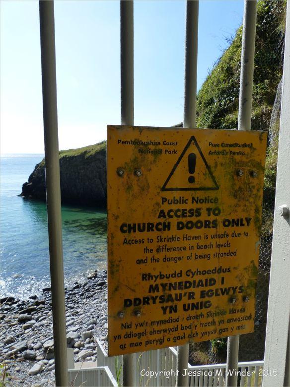 Warning sign at Church Doors Cove