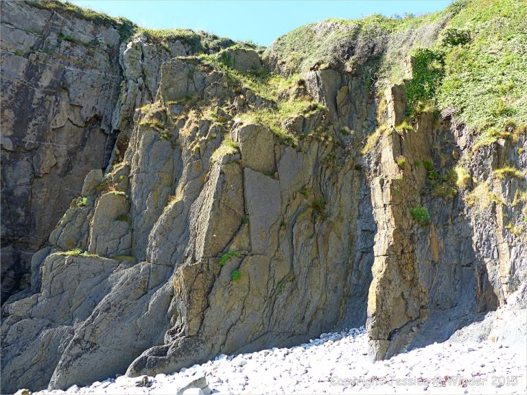 Vertical Carboniferous Avon Group rock strata on the seashore at Church Doors on the South Pembrokeshire Coast in Wales