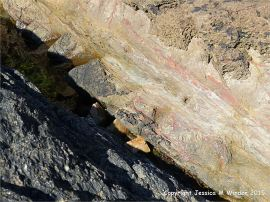 Natural textures in the weathering top surface of a lamprophyre dyke cutting through Icart Gneiss (left bottom corner))