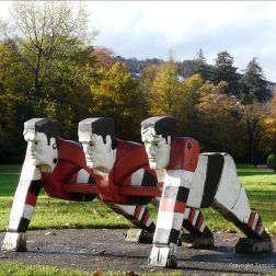 "The ""Pontypool Front Row"" sculpture"