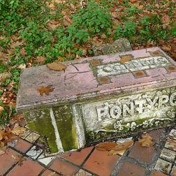 Old stone seat in Pontypool Park