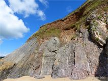View of the east cliff at Threecliff Bay in Gower, South Wales