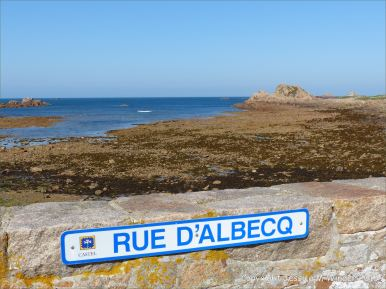 Overlooking the sea wall at Albecq