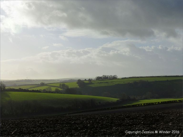 English countryside under dark skies