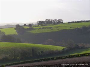 English countryside view rolling hills and fields