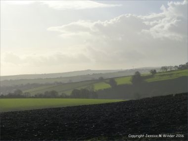 English countryside view with dramatic skies