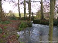 English countryside view with river and fast flowing water