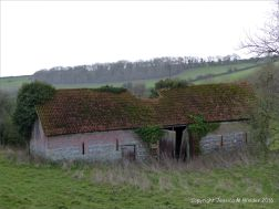 English countryside view with derelict barn