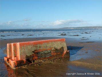 Flotsam orange plastic fish crate washed ashore