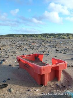 Red plastic flotsam fishing crate washed ashore