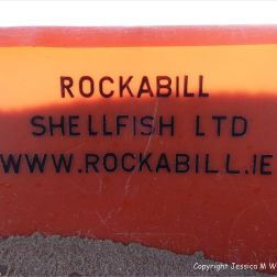 The writing on a flotsam plastic fish crate
