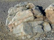 Rock outcrop of L'Eree Granite on the Channel Island of Guernsey