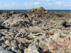 L'Eree Granite rock outcrop location for an albite dolerite dyke on Guernsey, Channel Islands.