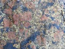 Close-up of L'Eree Granite with pink megacrysts of feldspar