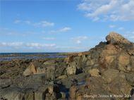 A dolerite dyke crossing L'Eree granite on Guernsey in the Channel Islands
