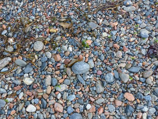 Dry pebbles on the beach at Havelet in Guernsey