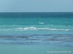 Bands of varying blue hues on the sea off the Dorset Coast