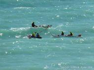 Kayaks off the Dorset Coast