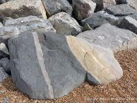 Natural pattern in a boulder forming part of rip-rap or rock armour sea defences on the beach at Seatown, Dorset, England.