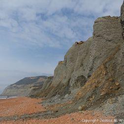 Seatown beach looking west showing mudslide on the cliffs