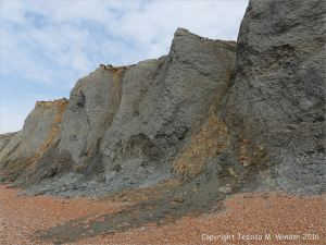 Mudslide on the west cliffs at Seatown, Dorset, England.