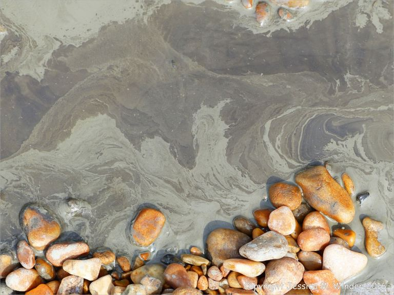 Patterns in liquid mud on the seashore
