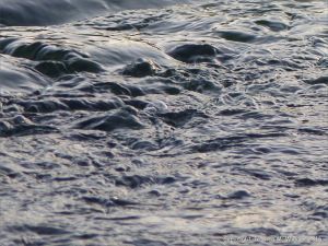 Dark swirling waters of a river at dusk