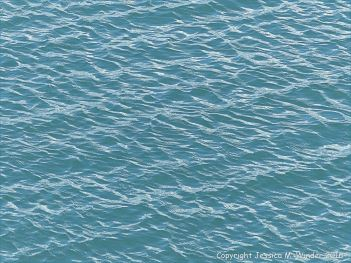 Calm blue-green sea gently rippled by the wind