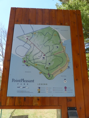 Sign with map of Point Pleasant Park, Halifax, Nova Scotia.