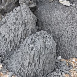 Natural fracture patterns in beach boulders at Charmouth on the World Heritage Jurassic Coast in Dorset, England.