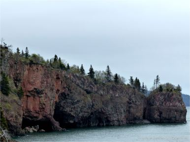 North Mountain Basalt of Jurassic age at Cap d'Or in Nova Scotia, Canada.