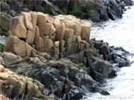 Detail of columnar fracturing in North Mountain Basalt of Jurassic age at Cap d'Or in Nova Scotia, Canada.
