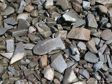 Beach stones mainly of volcanic basalt at Partridge Island