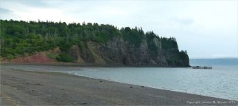 The west side of Partridge Island seen from the shingle spit connecting it to the mainland