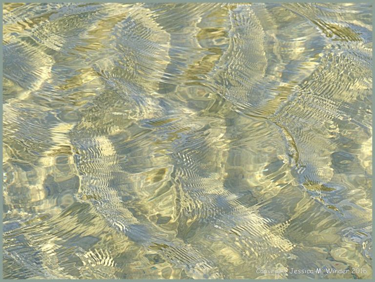 Water surface texture patterns in a tide pool on sand