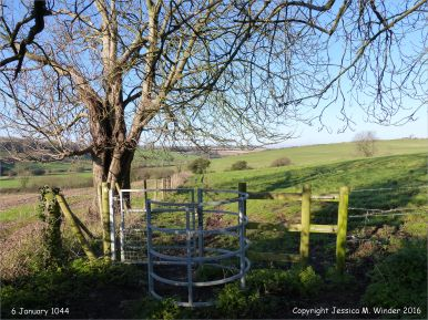 Rural view with stile in winter on the Cerne Valley Trail, Dorset, England.