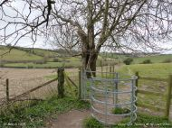 Rural view with stile on the Cerne Valley Trail, Dorset, England, in winter