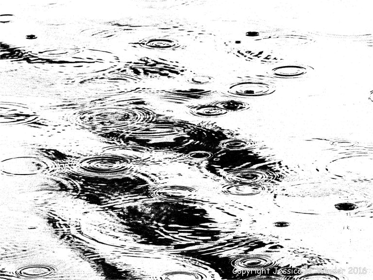 Picture of water surface disturbed by rain drops