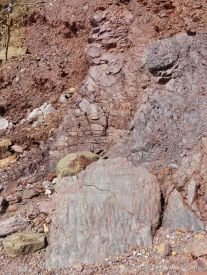Triassic to Jurassic Blomidon Formation rocks at Wasson Bluff